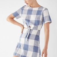 Lucca Couture Kennedy Tie-Front Gingham Dress | Urban Outfitters
