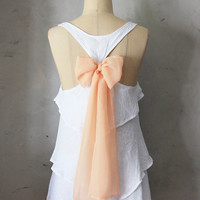 PREORER // BELOVED AURA - Romantic white flowy tier blouse // pastel blush peach // chiffon sash bow // tunic // tank top // racerback