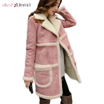 AKSLXDMMD Parkas Mujer 2017 New Large Size Winter Lamb Suede Thick Jacket Women Splicing Pocket Cotton Long Coat Female LH977