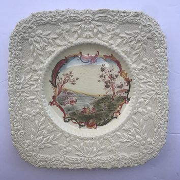 Stunning Royal Cauldon Square Brown Transferware Plate Embossed / Relief Sunflower Border Frames Mounting Fishing Scene