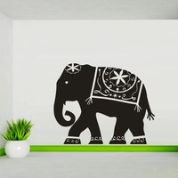 Wall decal art decor decals sticker elephant Buddhism India Indian namaste Buddha OM Yoga success god lord (m87)