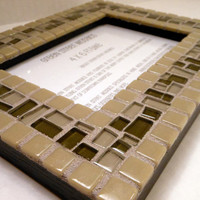 Mosaic Picture Frame  4 x 6   Olive Green by GreenStreetMosaics