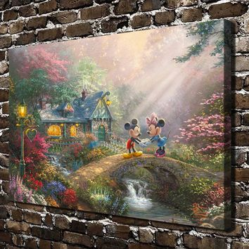 H1400 Thomas Kinkade Mickey Mouse Cartoon Anima, HD Canvas Print Home decoration Living Room bedroom Wall pictures Art painting