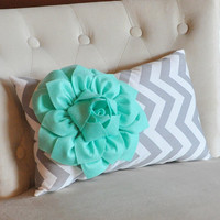 Chevron Lumbar Pillow Mint Green Dahlia on Gray and White Zig Zag Lumbar Pillow 9 x 16