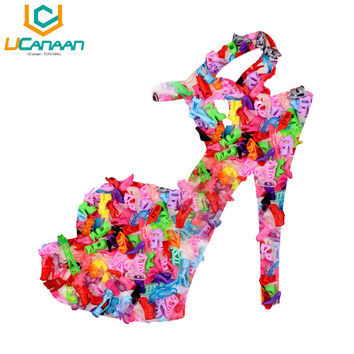 Free Shipping 10 Pair Fashion Colorful Accessories Shoes Heels Sandals For Barbie Clothes