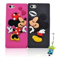 I Need(TM) Lovely Fall in Love Minnie & Mickey Mouse Soft Silicone Case Cover Couple Set Compatible For Apple Iphone 5(Grey) + 3D Alien Stylus Pen-Perfect Gift