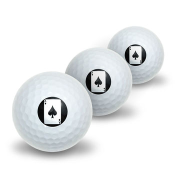 Playing Cards Ace of Spades Novelty Golf Balls 3 Pack