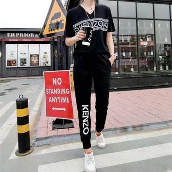 KENZO Women Sport Casual Letter Pattern Print V-Neck Short Sleeve Trousers Set Two-Piece Sportswear