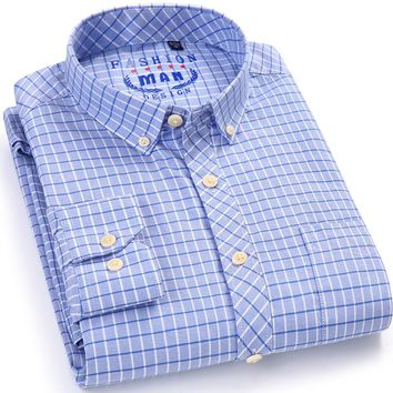 Men's Long Sleeve Check Pattern Oxford Dress Shirt with Left Chest Pocket Cotton Smart Casual Slim-fit Button Down Plaid Shirts