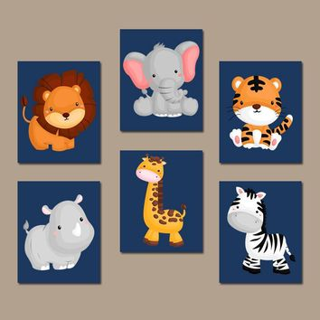 JUNGLE Safari Animal Wall Art, Baby Boy Animal Nursery Decor, Jungle Safari Animals Boy Bedroom Canvas or Prints  Set of 6 Playroom Decor