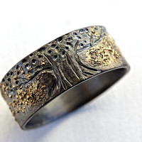 unique tree of life ring black silver 14k gold, viking ring Yggdrasil ring, celtic wedding band mens wedding ring molten gold and silver