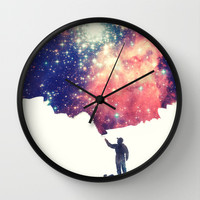 Painting the universe Wall Clock by badbugs_art | Society6