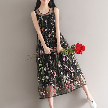 Women See Through Embroidery Dress Flower Embroidered Sheer Organza Floral Sunress O Neck Sleeveless Long Midi Tank Mesh Dress