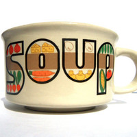 sale vintage jumbo soup mug retro patchwork look by Breelzebub