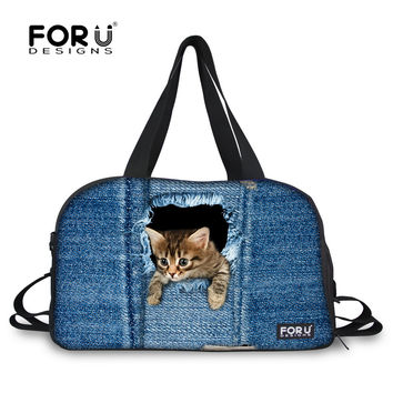 Famous Brand Cute Cat Dog Doberman Print Women Luggage Travel Bags Canvas Handbag Large Capacity Luxury Travel Duffel Tote Bags