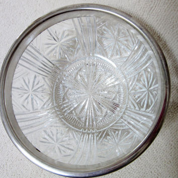Cut Glass Crystal Bowl, Silver Rim Small Bowl, Made In Italy, Serving Dips, Vintage