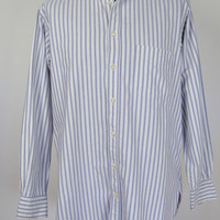 "Thomas Pink Mens Long Sleeve Button Cuff Pinstripe Shirt Cotton 16"" Collar Blue White Stripe"