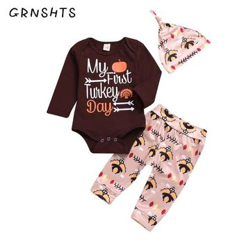 e842427a79d GRNSHTS Thanksgiving Newborn Kid Baby Boy Girl Clothes Outfit Ro