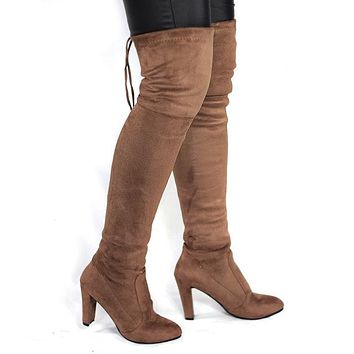 Faux Suede Thigh High Boots up to Size 10.5 (26.5cm EU 42)