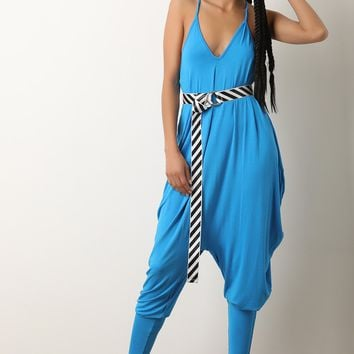 Jersey Knit V-Neck Belted Draped Jumpsuit