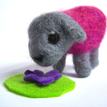 Needle Felted Sheep Miniature 'Disco Sheep' by Knittynudo on Etsy