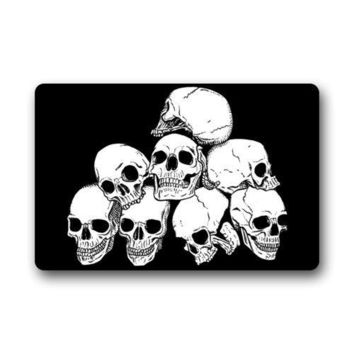 Top Fabric & Non-Slip Rubber Indoor Doormat Door Mats White Skull With Black Background Floor Mat Rug for Home/Office/Bedroom