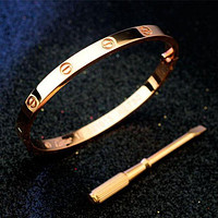 Cartier Woman Lover Fashion LOVE Plated Bracelet Jewelry Gold