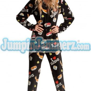Hot Sushi Hooded Adult Pajamas - Hooded Footed Pajamas - Pajamas Footie PJs Onesuits One Piece Adult Pajamas - JumpinJammerz.com