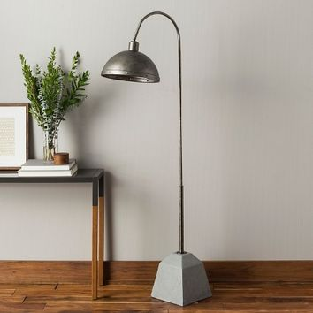 "Adjustable Concrete Floor Lamp - Grey/Silver (25.5x25.5x64.5"") The Industrial Shop"