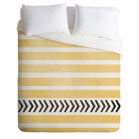 Allyson Johnson Yellow Stripes And Arrows Duvet Cover