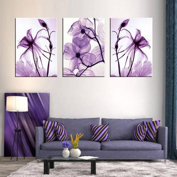 Combined 3 Pcs/set New Purple Flower Wall Art Painting Prints On Canvas Abstract Flower Veins Canvas Wall Picture for BedRoom