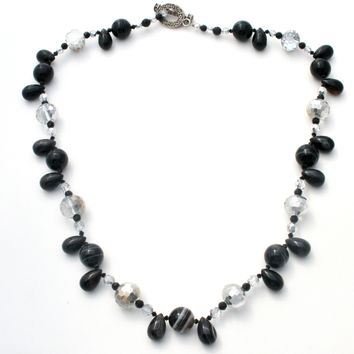 Vintage Art Glass Black Brown Bead Necklace 32""