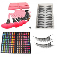 168 Full Color Eyeshadow Palette + 10 Pairs Stylish Cross False Fake Eyelashes Black 2# + 24pcs Makeup Brush Set