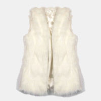 Fur-get About It Faux Fur Vest - White