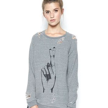 Lauren Moshi Jetta Oversized Pullover in Heather Grey