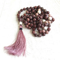 Gypsy Style Tassel Necklace, Long Beaded Layering Necklace, Japser Tassel Necklace, Bohemian Gemstone Beaded Necklace, Yoga Inspired Jewelry