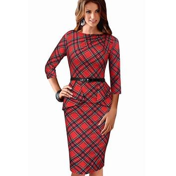 Womens Dress Vintage Elegant Tartan Peplum Ruched Tunic Casual Vestidos Party Cap Sleeve Bodycon Sheath Dress 006