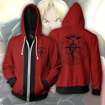 Fullmetal Alchemist Brotherhood Hoodie Edward Elric Men Casual Hoodies Sweatshirts 3D Print Hooded Zipper Coat Outerwear Outfit