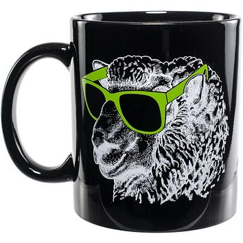 Knit Happy Mug - Sheep in Green Sunglasses