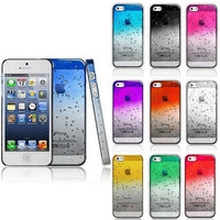 3D Transparent Gradient Water drop Phone Case Cover Shell For 4 4s 5 5s Mobile Phone Case 39T27ME
