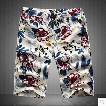 Summer Men Linen Plus Size Strong Character Pants Shorts [6541730691]