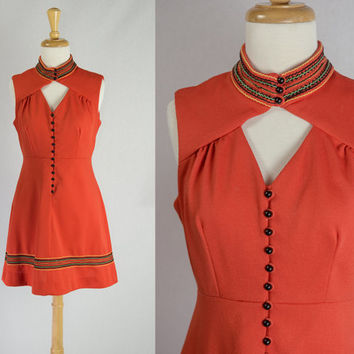 Vintage 70s Mod Orange Key Hole Mini Dress Rick Rack Trim