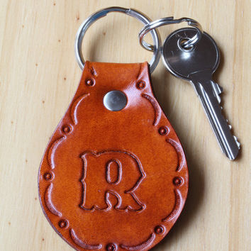 Personalized Key Fob, Initial Leather Key Chain, Monogram Keychain, Either Natural or Brown, Personalised Keyring, Custom Made Keychain