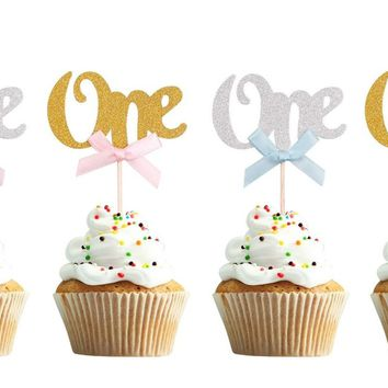 1st First Birthday Cupcake Topper - One Cupcake Topper for Girls or Boys