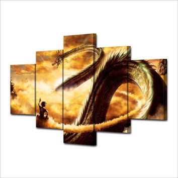 5 Pieces Goku And Shen Long Oil Painting on Canvas Poster Dragon Ball Picture Wall Art Home Decoration