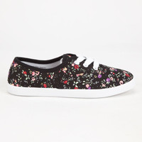 Soda Girls Ditsy Printed Lace Up Shoes Black  In Sizes