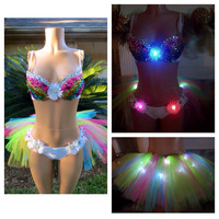 LED Rainbow Rhinestone Daisy Rave Bra & LED Rainbow Daisy Rhinestone Tutu Bottoms EDC Electric Daisy Outfit