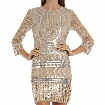 JS Collections - Sequined Jewel Neck Dress 864220