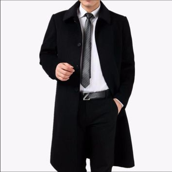 M-4XL Autumn and winter New Men's overcoat cashmere overcoat thickening wool long coat outerwear warm trench plus size clothing