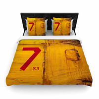"Steve Dix ""7S3"" Yellow Painting Woven Duvet Cover"